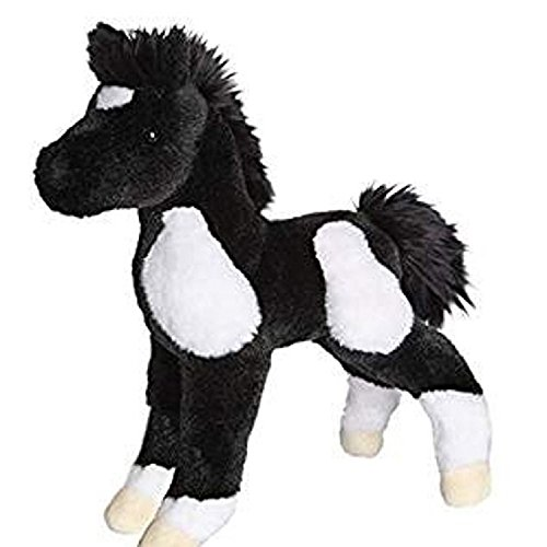 10 Inch Runner Black & White Paint Horse Foal Plush Stuffed Animal by Douglas (Paint Plush Horse)