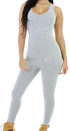 Zago Womens Sleeveless Classic Skinny Solid Playsuit Jumpsuits Light Gray XS Classic Ruffle Capri Pajama