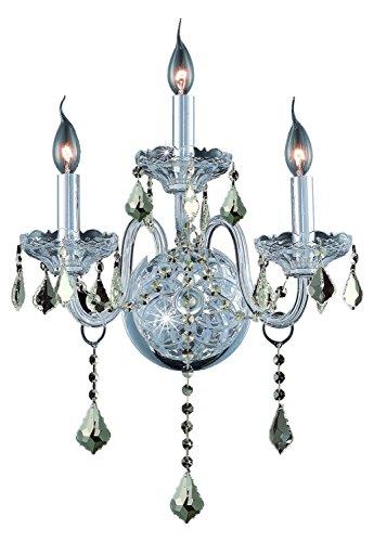 (Elegant Lighting 7853W3C-Gt/Ss Swarovski Elements Smoky Golden Teak Crystal Verona 3-Light Crystal Wall Sconce, Finished in Chrome with Smoky Golden Teak Crystals)