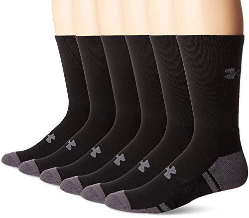 Under Armour Resistor 3.0 Crew Athletic Socks (6 Pack), Black/Graphite, Medium