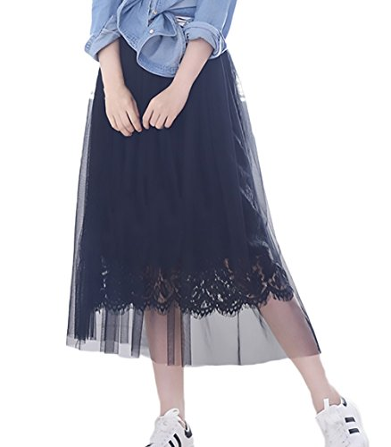 Alta Dulce Largas Ropa Cintura Fiesta Mujer Verano Modernas Negro Larga Plisada Elegantes Encaje Casual Faldas Estilo Falda Malla De Moda Yz7q7wZ