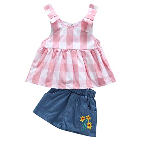 Womola 2PCS Fashion Toddler Kids Baby Girl Clothes Outfit Sleeveless Plaid Top Denim Shorts Set