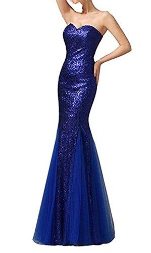 Sapphire Blue Pailletten Sweetheart emmani Meerjungfrau Damen Abendkleid wTXpp1