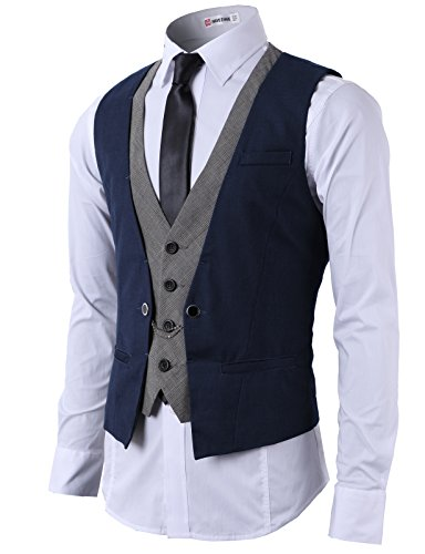 H2H Mens Fashion Business Suit Layered Vest With Chain Rings NAVY US 2XL/Asia 3XL (CMOV01)