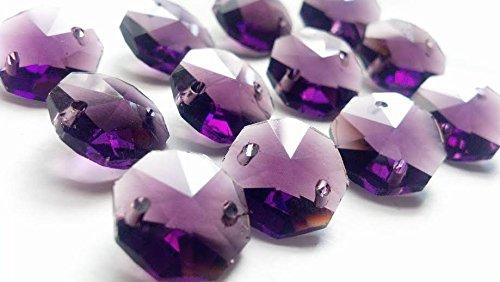 14mm Chandelier Crystals Dark Purple Octagon Beads Pack of 50 (Purple Dark Crystal Amethyst)