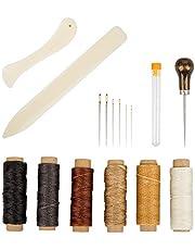 Set of 16 Bookbinding Tools, findTop Bone Folder Creaser Waxed Linen Thread Wood Handle Awl Large-eye Needles for Handmade DIY Bookbinding Crafts and Sewing Supplies