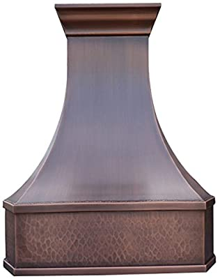 Copper Best H3 302139LS Copper Exhaust Hood with 660CFM Powerful Hood Inserts 30 in Wall