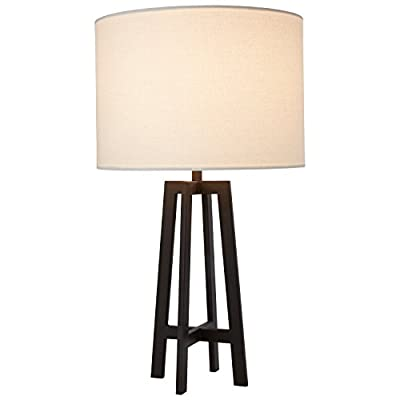 "Stone & Beam Deco Black Metal Table Lamp, 20.75""H, with Bulb, White Shade - This Art Deco-inspired lamp features a boldly designed four-legged base with a classic white linen shade. This piece will provide a handsome style addition to your room in addition to providing light wherever you need it. Art Deco-inspired Metal legs with black finish and white linen shade - lamps, bedroom-decor, bedroom - 41sH0trDHFL. SS400  -"