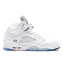 Nike Jordan Kids Air Jordan 5 Retro Bg Whiteblackmetallic Silver Basketball Shoe 4 Kids Us