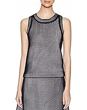 calvin klein women mesh shell sleeveless blouse size 10 blk