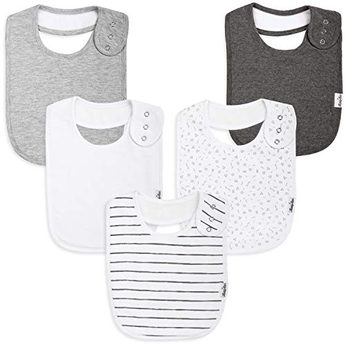 (Premium, Organic Cotton Toddler Bibs, Unisex 5-Pack Extra Large Baby Bibs for Boys and Girls by KiddyStar, Perfect Baby Shower Gift for Feeding, Drooling and Teething, Adjustable 5 Positions (Slate))