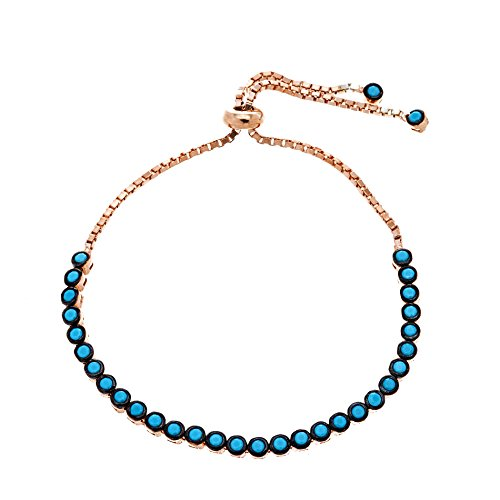[Silver Gold or Rose Gold Two-Tone Blue Cubic Zirconia Slider Tennis Bracelet (Rose Gold)] (Boys Snowflake Costume Uk)