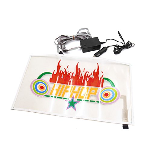 uxcell 45 x 25cm Hiphop Flame Pattern Car Music Rhythm Lamp Sound Activated Equalizer