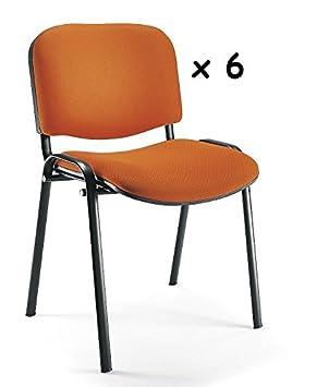 6x - Silla confidente para oficina - Silla tapizada color NARANJA ...