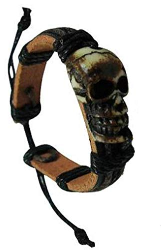 TZ Tribal Voodoo Pirate Skull Leather Bracelet