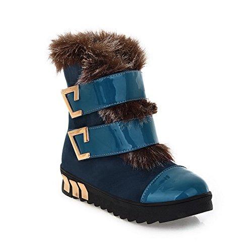 AmoonyFashion Womens Closed Round Toe Low Heels PU Short Plush Assorted Colors Boots with Metalornament Blue 9pNdz