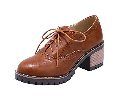 AllhqFashion Womens PU Round-Toe Kitten-Heels Lace-Up Solid Pumps-Shoes Brown 2Ypn69C