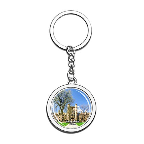 Keychain University of Michigan Ann Arbor United States USA US Keychain Crystal Spinning Round Stainless Steel Keychains Souvenir Key Chain Ring]()