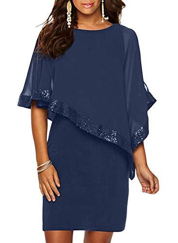 - Blibea Womens 2018 Fashion Plus Size Cold Shoulder Cape Batwing Cocktail Party Mini Dress Medium Blue