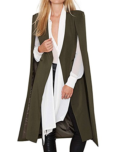 ASMAX HaoDuoYi Women Casual Open Front Cape Trench Duster Coat Longline Blazer(S,Army -