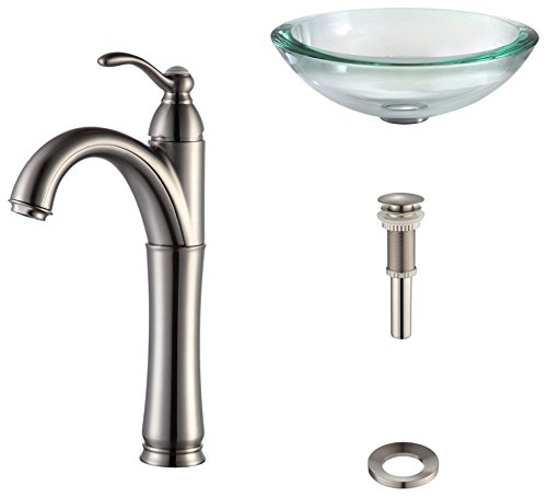Kraus C-GV-150-19mm-1005SN Clear 34mm edge Glass Vessel Sink and Riviera Faucet Satin Nickel