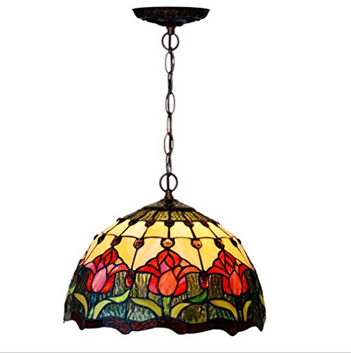 (Tiffany Style Chandelier 12-Inch Red Tulip Pattern Decorative Stained Glass Pendant Light Hallway Bedchamber Coffee Bar Club Art Hanging Lamp, E27, Max40W1, BOSS LV, 220v)
