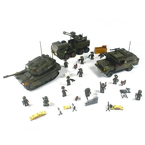 Military Collection Series Merkava Tank Heavy Transporter Hummer Heavily fortified positions Artillery Army Building Blocks 850+pcs 10dolls Educational DIY Toys For Children - Tank Transporter