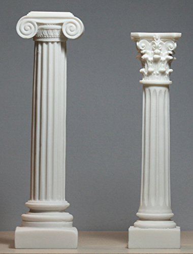 Set 2 Greek Columns Ionic & Corinthian Style Pillar Pedestal Decor ()