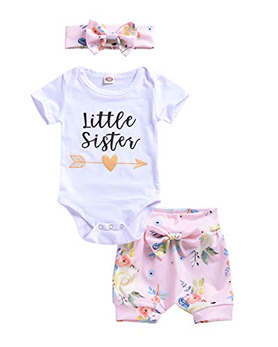 (Big Little Sister Bodysuit Letter Romper Floral Skirt Shorts Headband Outfit Set)