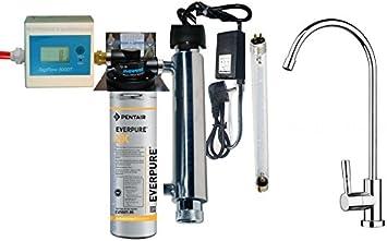 Purificador agua Kit Everpure 2DC con esterilizador UV y contalitri ...