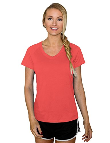Woolx Womens Mia Lightweight Moisutre Wicking Merino Wool T Shirt That Repels Odor, Spiced Coral, ()