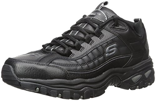 Skechers Sport Men's Energy Afterburn Lace-Up Sneaker,Black,10.5 (Skechers Leather Lace Up Sneakers)