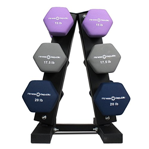 Fitness Republic Neoprene Dumbbells Pairs (15lb, 17.5lb & 20lb) with 3 Tier Rack