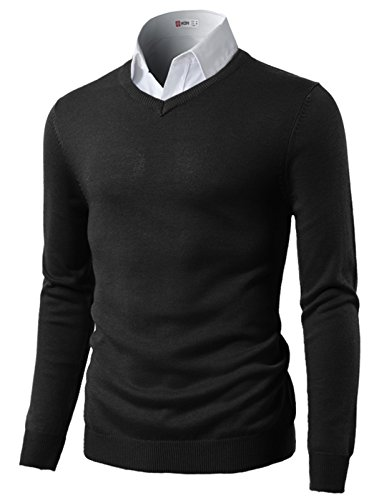 H2H Mens Slim Fit Light Weight VNeck Pullover Sweater Black US XL/Asia 2XL CMOSWL015