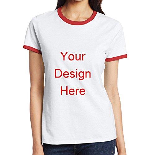 Custom T Shirts Basketball Tees Football Tshirt Designs Women's Classic Ringer T-Shirt (Large, Red) ()