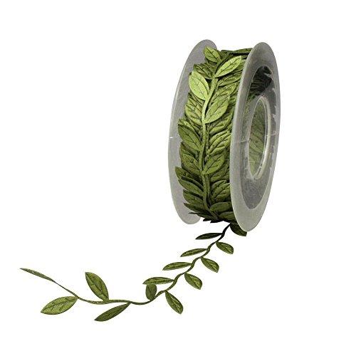 Yalulu 10 Yards Artificial Green Leaf Ribbon for Wreath and Flower Decorations - Leaf Beaded