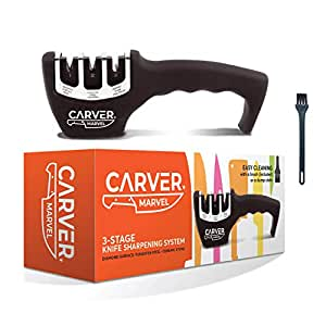 CARVER MARVEL Kitchen Knife Sharpener - Professional 3 Stage Kitchen Sharpener for Premium Knives, Sharpens and Polishes Knives in 30 Seconds