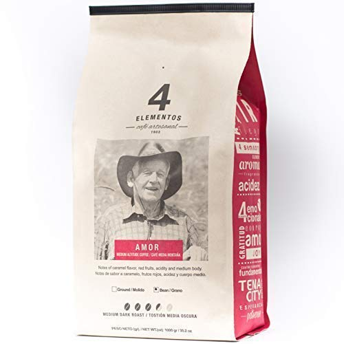 Select Whole Bean - 4 Elementos Amor Specialty Coffee, Colombian Single-Origin, Whole Bean, 2.2 lb (35.2 oz) bag