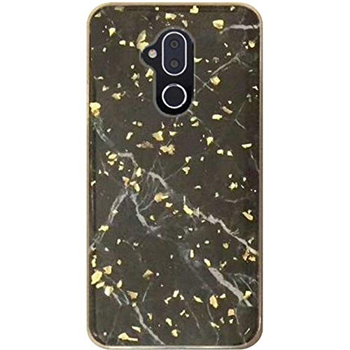 Alcatel Revvl 2 Plus (2018) (T-Mobile) Phone Case Accessory Charming Black High Class Marble Look Hybrid TPU Glitter Cover Aplus Pouch