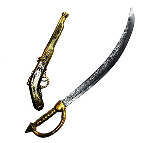 Pirates Of The Caribbean Sword (Joyin Toy 28 Inches Pirate Sword and 16 Inches Pirate Pistol Set)