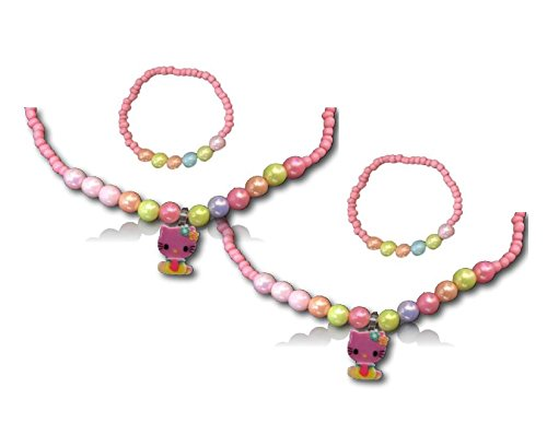 [Kitty N' Kat Friendship Necklace / Bracelet Set | 2 Sets | 12 inches | Pink, Green, Blue, and Orange Beads | The perfect gift for any little] (Pink Lady Costume Images)