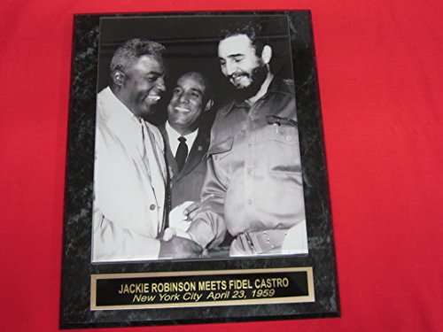 (Jackie Robinson Meets Fidel Castro Engraved Collector Plaque w/8x10 RARE Photo)