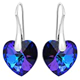 Sterling Silver Earrings ROYAL CRYSTALS Purple Blue Love Heart Pierced Adorned with Swarovski Crystals