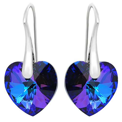 - Sterling Silver Earrings ROYAL CRYSTALS Purple Blue Love Heart Pierced Adorned with Swarovski Crystals