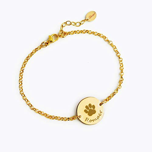 Dog Custom Print - Personalized Pet Bracelet with Paw Print and Name, Custom Dog or Cat Memorial Jewelry