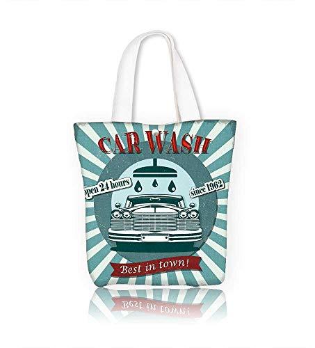 Ladies canvas tote bag Car wash retro reusable shopping bag zipper handbag Print Design W23xH14xD7 INCH