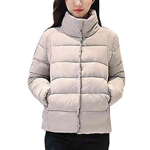 KINDOYO Jacket Stand Collar Warm Coat Warm Autumn Winter Womens Grey
