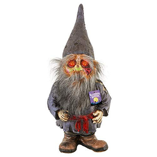 Halloween Haunters Realistic Life Size Scary Zombie Gnome with Red Light-up Eyes - Prop Decoration - Thick Rubber Latex