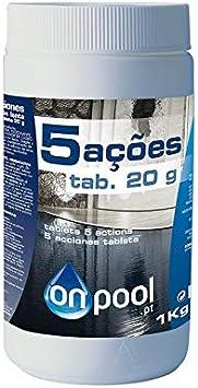 Onpool - Cloro 5 Acciones 1 Kg en Pastillas de 20 g para Piscina ...