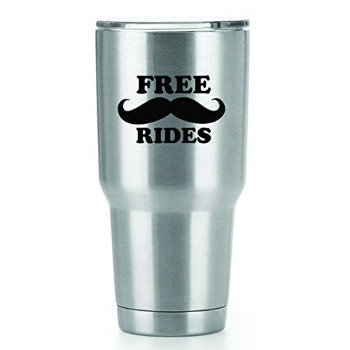 Free Mustache Rides Vinyl Decals Stickers ( 2 Pack!!! ) | Yeti Tumbler Cup Ozark Trail RTIC Orca | Decals Only! Cup not Included! | 2 - 4 X 2.5 inch Black Decals | KCD1552